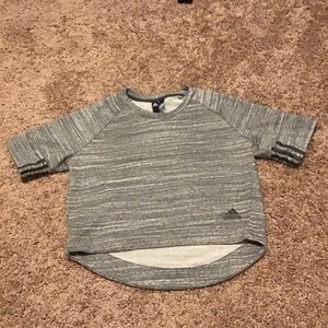 Adidas Heather Gray Crop Short Sleeve Crewneck
